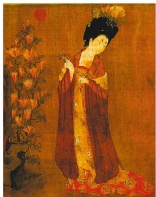 《簪花仕女图》显示——唐朝女性流行刮眉毛盘假发