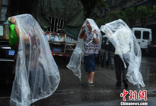 图为民众用塑料袋制作的雨衣。 陈超 摄