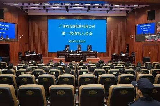 广西奥奇丽股份有限公司破产案第一次债权人会议。 本文图均为 梧州中院微信公众号 图