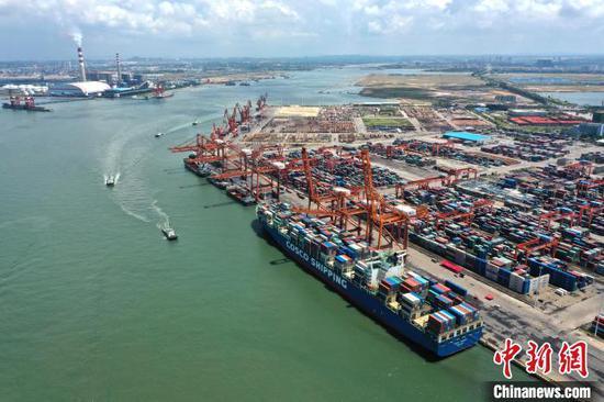 图为航拍钦州港码头。 俞靖 摄