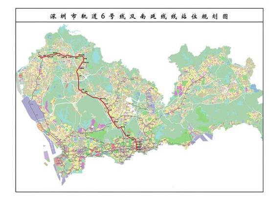 深圳地铁6号线线路图。