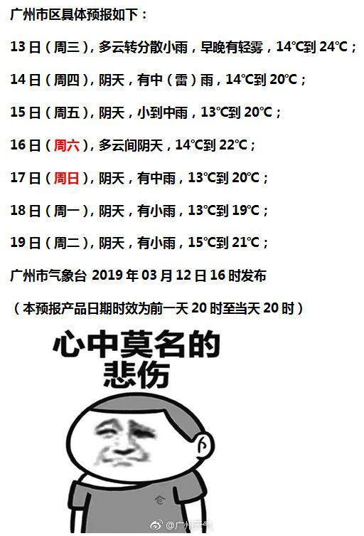 又要转雨了!广州今日下午起将有小雨 明日雨势加大