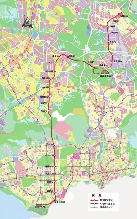 地铁10号线线路规划图。
