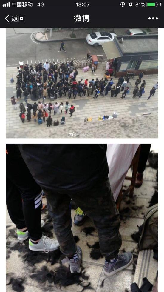 开学报道当天,学生们在校门口排队理发的场景。网络图片