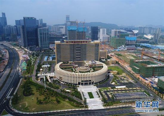 富有壮乡特色的广西国际壮医医院(9月15日无人机拍摄)。新华社记者 周华 摄