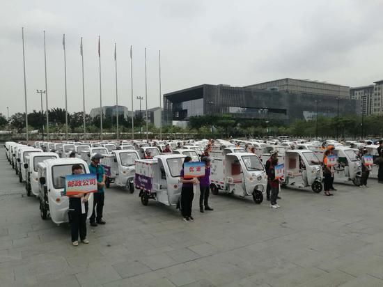 【皇朝彩票】广州邮政快递电动三轮车这样管 外观着装车辆全统一