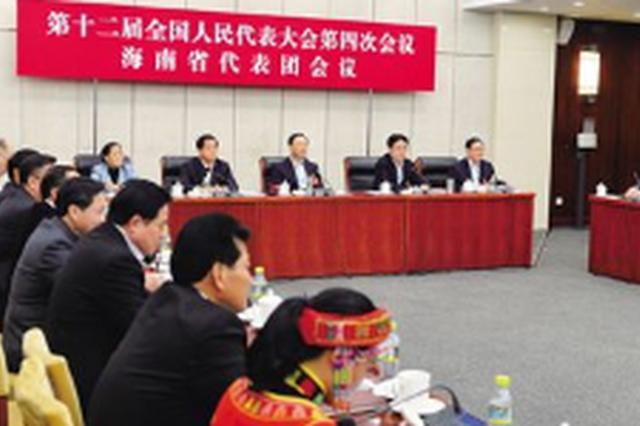 海南代表团举行全体会议 肖捷刘赐贵沈晓明张业遂出席