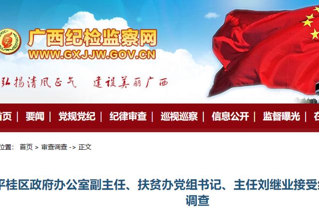 贺州平桂区政府办公室副主任、扶贫办主任刘继业被查