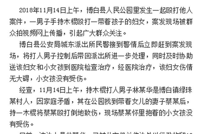广西男子当街持棍殴打妻女 官方通报:男子被行拘
