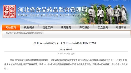 河北省食品药品监督管理局截图。