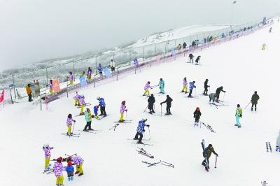 在五峰国际滑雪场,滑雪爱好者们正在畅玩。通讯员李奉君 李传葵提供