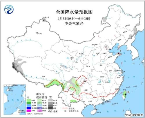 图1 全国降水量预报图(2月5日08时-2月6日08时)