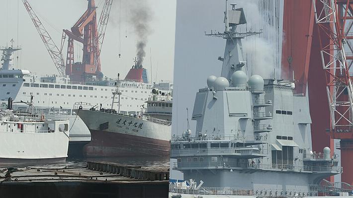 今天也许有动作?我国产航母和保障船烟囱都冒黑烟