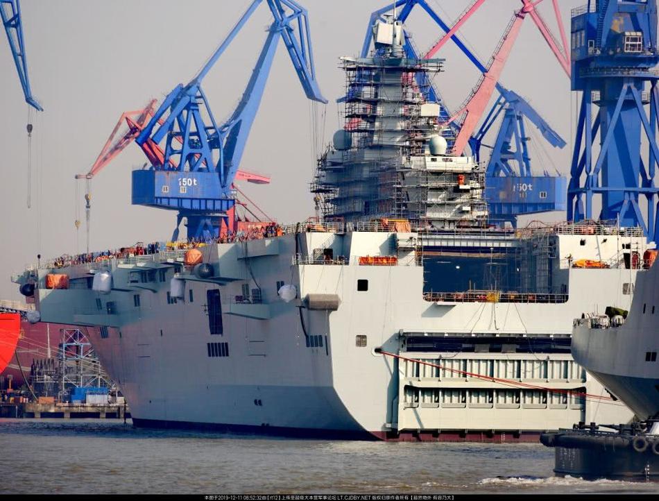 甲板脚架林立!中国075两栖攻击舰新动态曝光