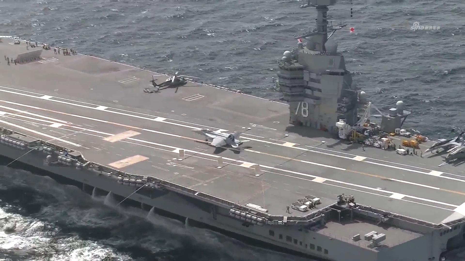 """7月28日,在服役6天后,""""福特""""号航母开展了航母首次弹射阻拦作图片"""