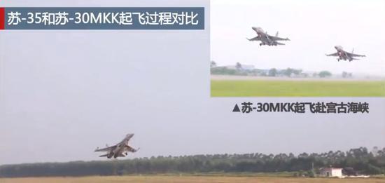 △苏-35和苏-30MKK起飞瞬间对比