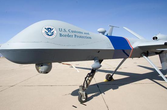 """图为美国海关与边境保护局的MQ-9,被称作""""卫士""""(Guardian)。"""