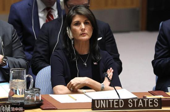 美国常驻联合国代表黑莉(视觉中国 图)