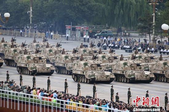 9·3阅兵上的自行火炮方队