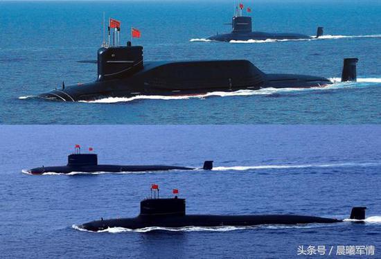 094A型战略导弹核潜艇和093B型攻击型核潜艇的第三代组合高调领衔海上阅兵式