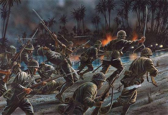 日军密集的冲锋只能被弹雨消灭