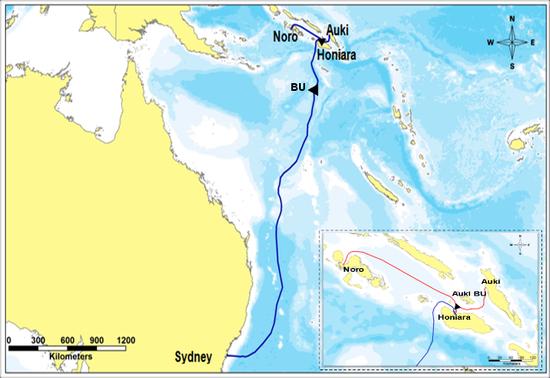 所罗门群岛海底光缆项目示意图(华为官网)