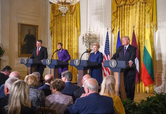 特朗普今年4月9日在白宫与波罗的海三国领导人会谈 来源:立陶宛共和国总统府