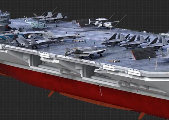 中国核航母CG图曝光 比福特级还猛隐形舰载机抢眼
