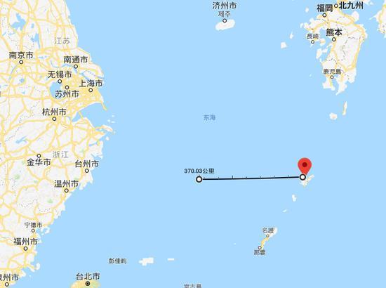 奄美大岛以西370公里大致位置 谷歌地图