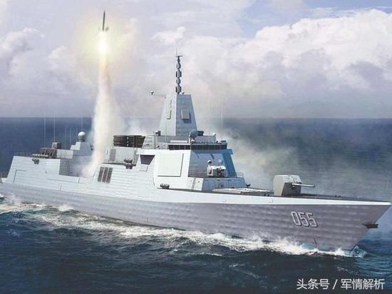 图为055大型驱逐舰发射防空导弹模拟画面