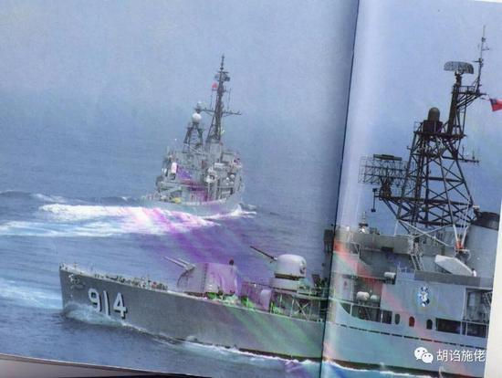 """▲ 翻拍的""""洛阳""""照片,可以看到该舰的""""雄风一号""""配备在前舰桥后部"""