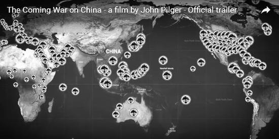 """纪录片中的""""美国400个军事基地包围中国""""示意图。"""