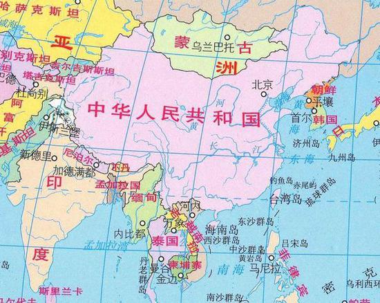 图:印度和中国接壤,5000公里射程基本上足够覆盖中国全境