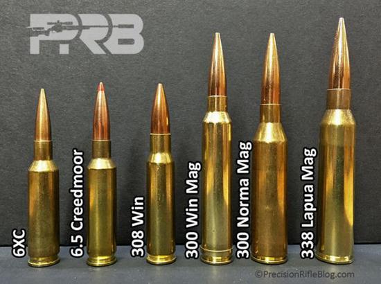 图:左三是美军现在用的7.62毫米机枪弹规格,右二是LWMMG机枪用的8.6毫米NM弹,大小差异一目了然