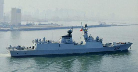 参加护航编队的538烟台舰,054A型护卫舰,隶属北海舰队