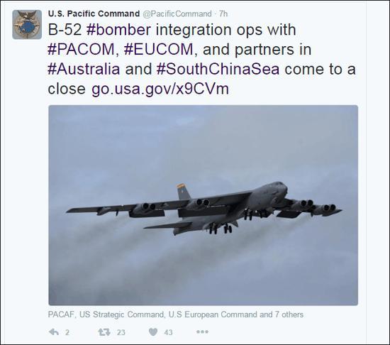 美军太平洋司令部推特发布消息