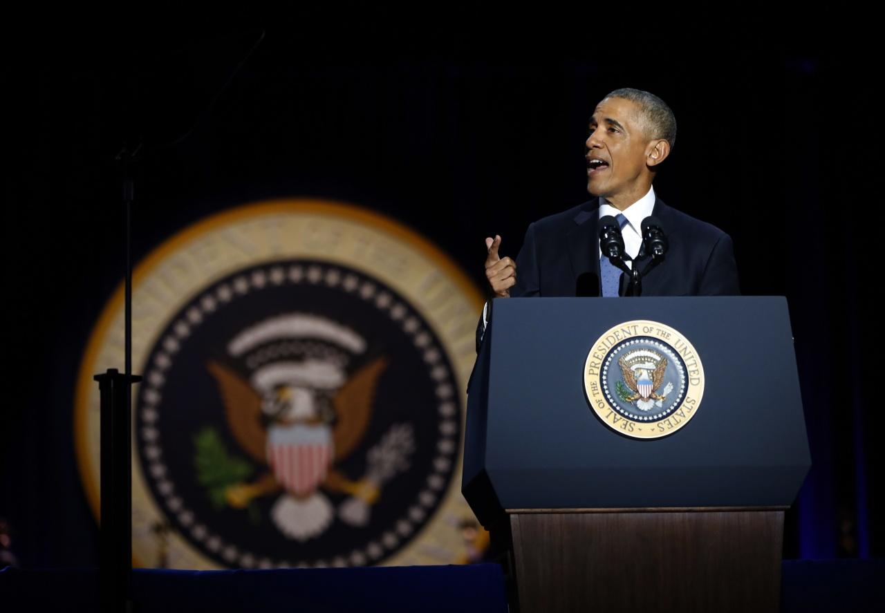 当地时间1月10日,美国总统奥巴马发表告别演说。