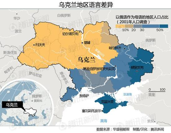 乌克兰东部地区大部分民众以俄语为母语(来源如图所示)