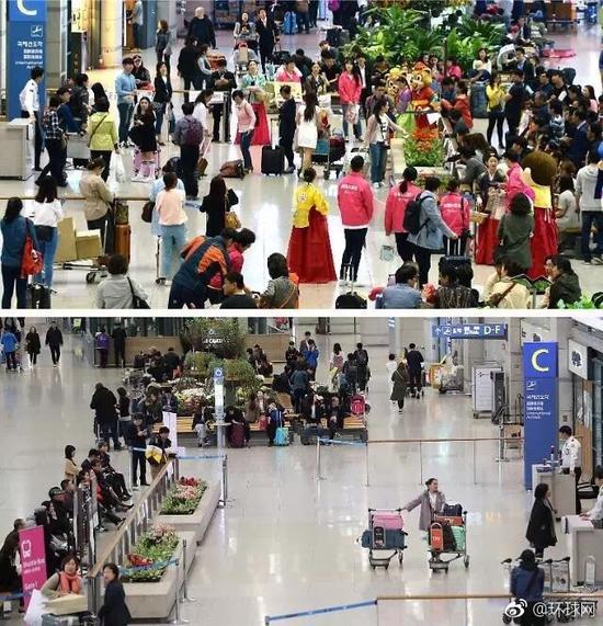 仁川机场入境处去年4月挤满外国游客(上图),今年3月15日异常冷清。图片:韩联社