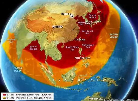 中国东风-21导弹的覆盖打击范围