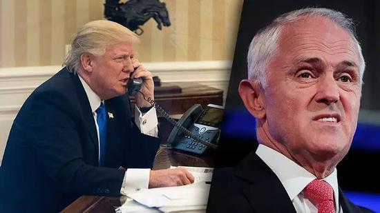 """资料图片:2017年1月,美国总统特朗普跟澳大利亚总理特恩布尔通了一次被美媒称为""""极不愉快的""""电话,原定1小时的通话被特朗普在25分钟时挂断。(拼版照片)"""