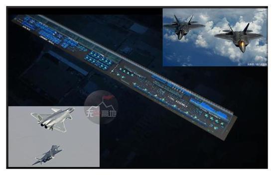通过美军的F-35的这个生产线示意图 我们就可以发现脉动生产线的占地面积确实比以往大不少
