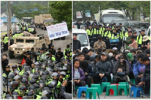 """4月26日,""""萨德""""片面装备在韩安插 警方与本地住户爆发抵牾 。(新华网/法新社发)"""