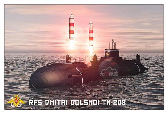 """虽然是3D图 这也是俄罗斯能够实际发射的""""圆锤""""导弹的唯一一艘台风级潜艇了"""