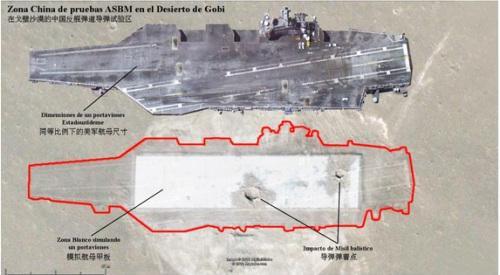 这张卫星图反映了东风-21D准确命中模拟目标的情况