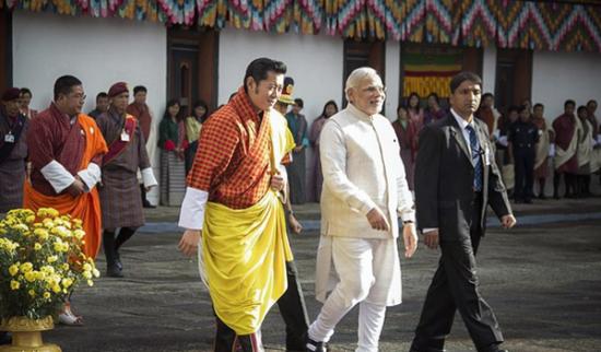 印度总理莫迪与不丹国王旺楚克