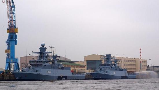 ▲第一批K130型护卫舰在布隆姆.福斯造船厂