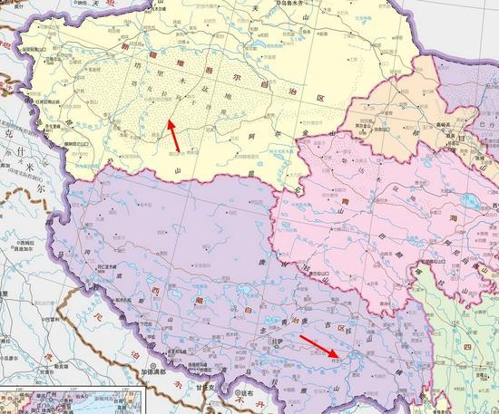 箭头处分别为塔克拉玛干沙漠和雅鲁藏布江