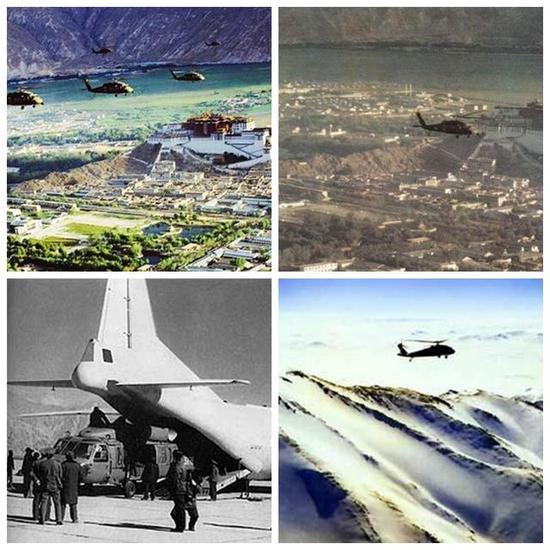 """图片:在青藏高原上飞行的S-70""""黑鹰""""直升机。"""