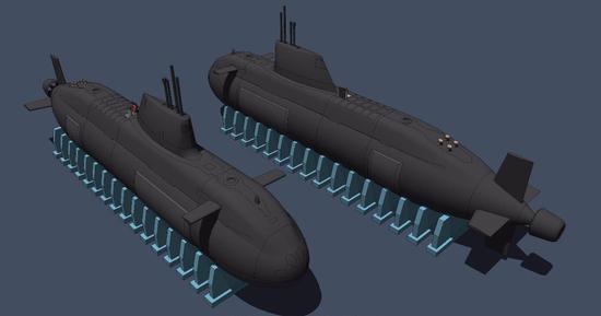 网友己己己画的我国新壹代泵喷铰进核潜艇CG图。